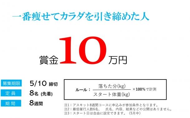 「一番痩せてカラダを引き締めた人」賞金10万円